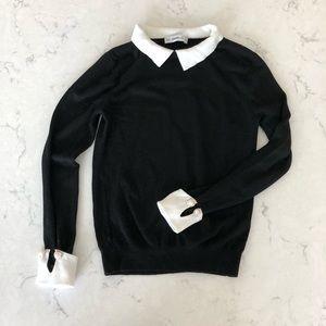 Zara Knit Black Sweater with Embellished Cuffs